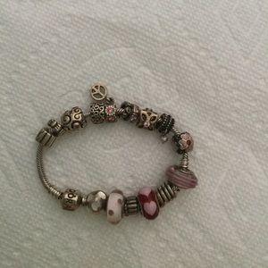Pandora bracelet and pandora charms.